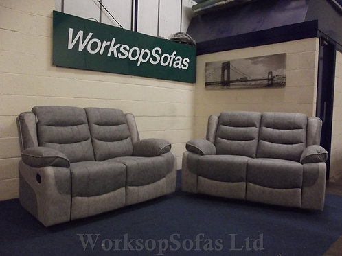 'Paige' 2 & 2 Seater Grey Reclining Sofa Suite