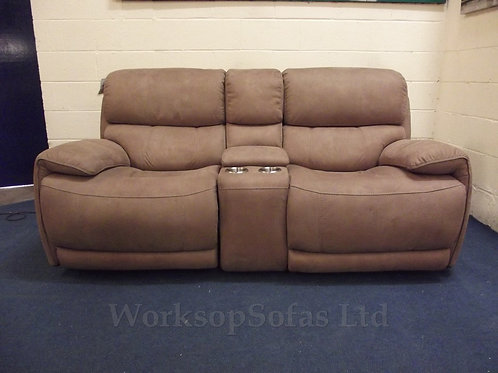 'Rocco' Nutmeg Brown Power Recliner 2 Seater Console Sofa