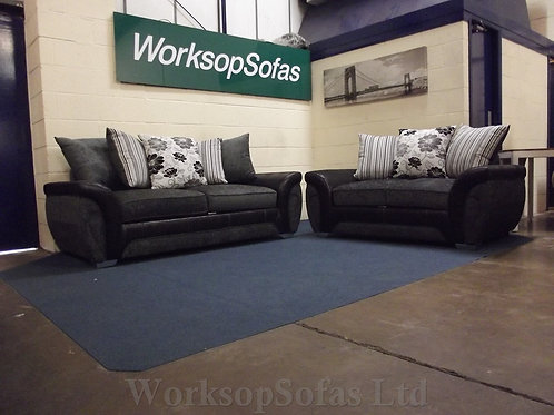 'Lowell' 3 & 2 Black And Grey Seater Sofa Suite