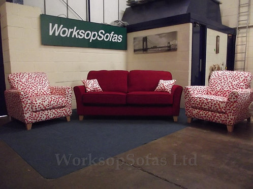 'Melbourne' Red 2.5 Seater Sofa And 2 x Contrast Tulip Armchairs
