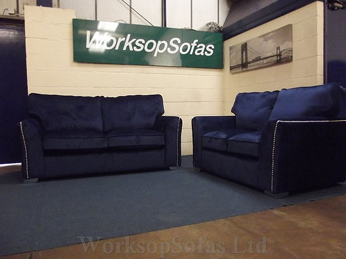 'Sapphire' Blue Velvet 3 & 2 Seater Sofa Suite