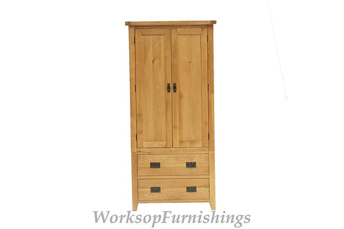 Portland Oak 2 Drawer Wardrobe
