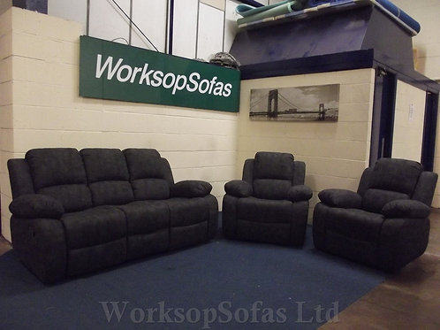 'Toronto' 3 Seater Sofa And 2 x Armchairs Manual Reclining Suite