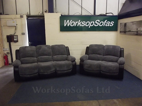 Bel Air Charcoal Cord 3 & 2 Seater Suite