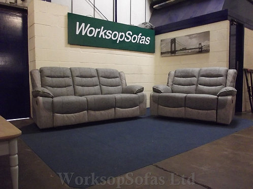 'Paige' 3 & 2 Seater Grey Reclining Sofa Suite
