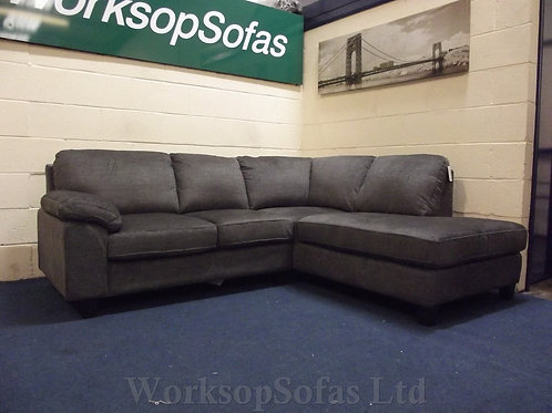 'Seattle' Grey Fabric Chaise Corner Sofa Right Hand Facing
