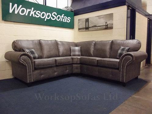 'Chesterton' Grey Chesterfield Style Corner Sofa