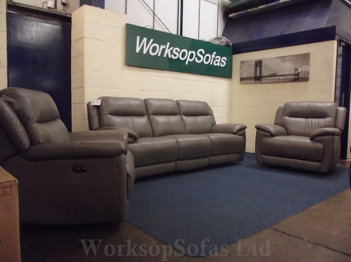 'Touch' Grey Leather 3+1+1 Power Reclining sofa suite