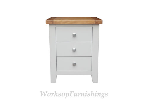 Hampshire Grey And Oak 3 Drawer Side Table