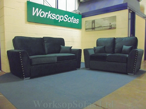 'Amy' Green Velvet 3 & 2 Seater Sofa Suite