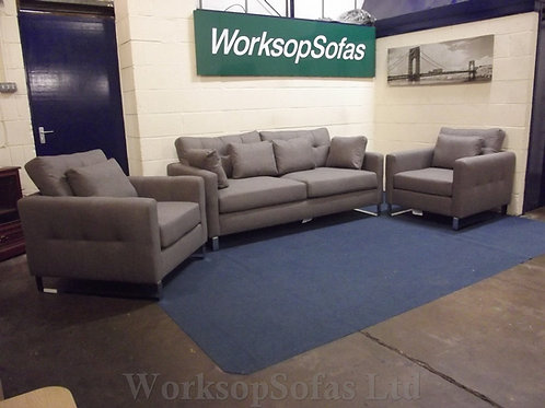 'Hera' 3 &1 & 1 Grey Sofa And Chairs Suite