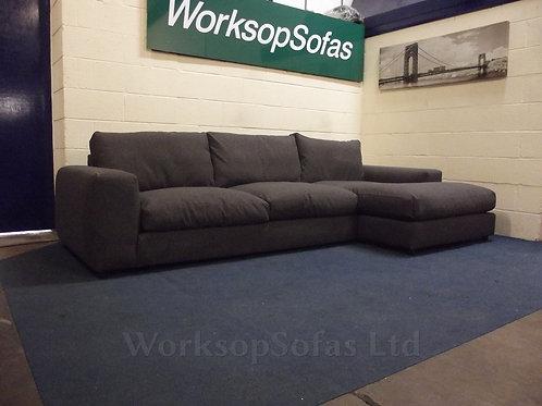 'Houghton' Grey Fabric Right Hand Corner Chaise Sofa