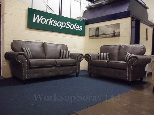 'Chesterton' Grey 3 & 2 Chesterfield Style Sofa Suite