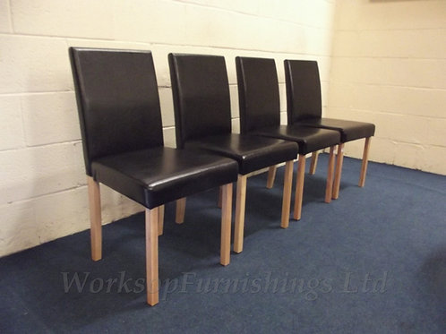 Black Faux Leather 4 x Dining Chairs