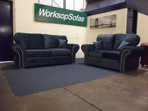 'Chesterton' Navy 3 & 2 Chesterfield Style Sofa Suite