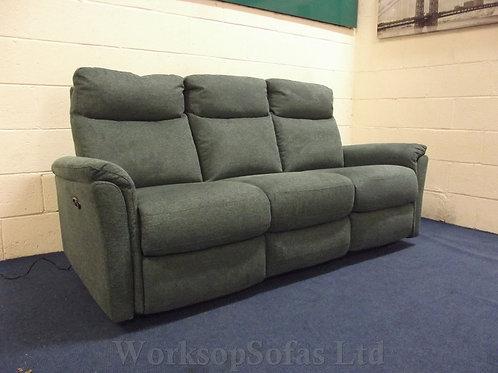 'Piccolo' Power Reclining Fabric Green 3 Seater Sofa