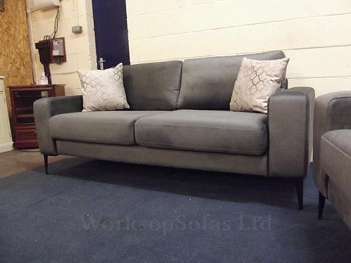 'Merlin' From Next Grey Velvet 3 Seater Sofa