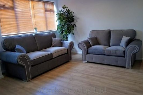 'Chesterton' Grey Velvet 3 & 2 Chesterfield Style Sofa Suite