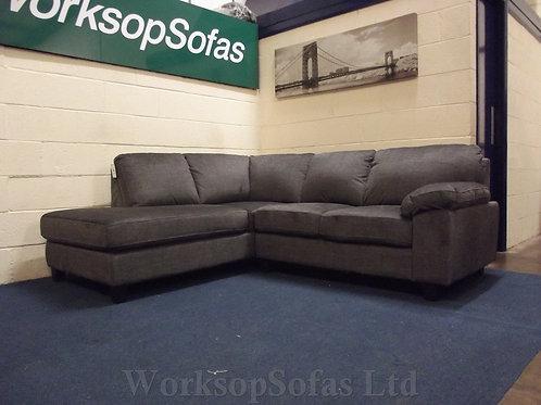'Seattle' Grey Fabric Chaise Corner Sofa Left Hand Facing