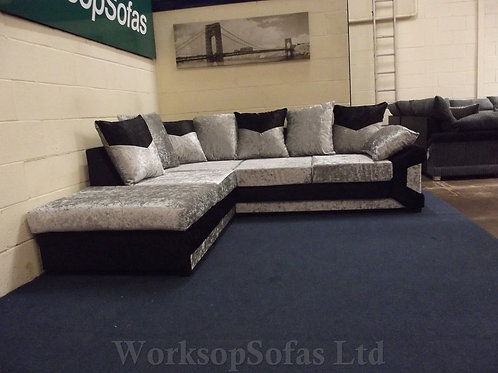 'Dino' Black And Silver Crushed Velvet Corner Sofa