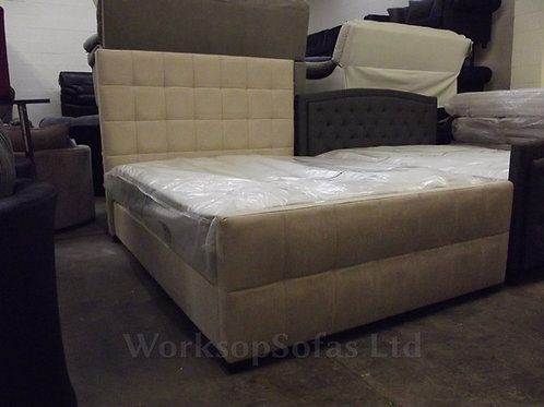 Brookland Cream Chenille Double Bed Frame