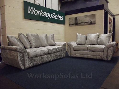 Lola 3 & 2 Seater Suite In Silver Crushed Velvet