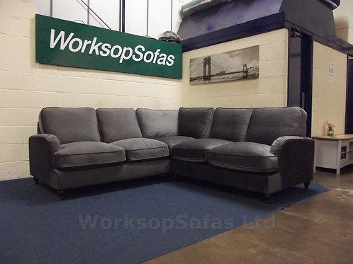 'Aspen' Velvet Grey Corner Sofa