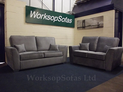 'Amy' Grey Velvet 3 & 2 Seater Sofa Suite