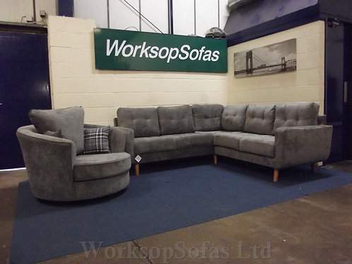 'Aurora' Grey Corner Sofa And Swivel Chair