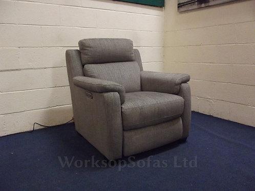 'Collins' Power Reclining Grey Fabric Armchair