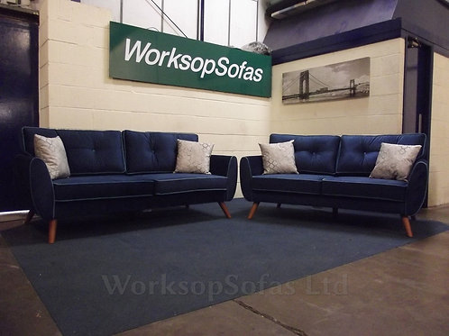 'Moby' Blue Velvet 3 & 2 Seater Sofa Suite