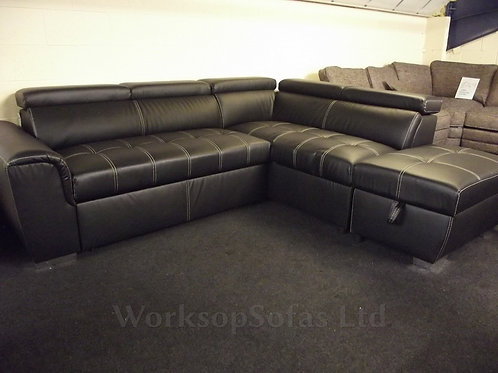 Elexis Corner Sofa Bed In Black