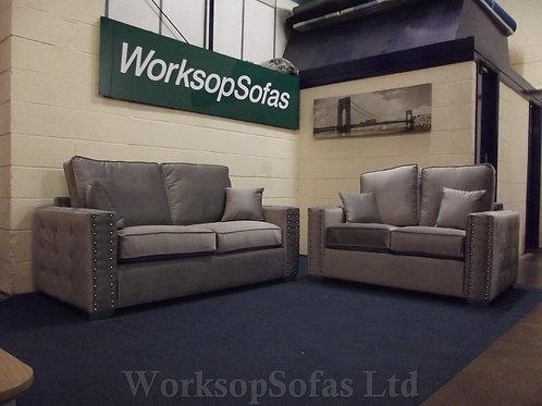 'Milan' Grey Velvet 3 & 2 Seater Sofa Suite