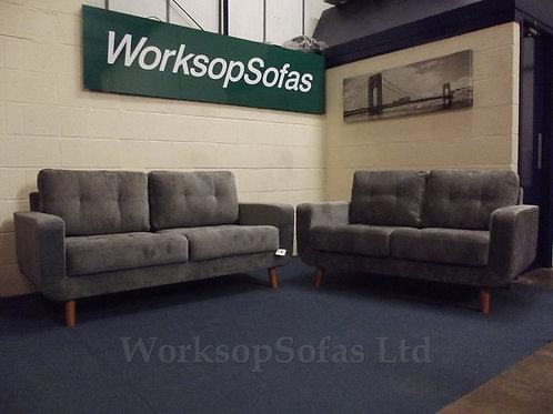 'Aurora' Grey Fabric 3 & 2 Seater Sofa Suite