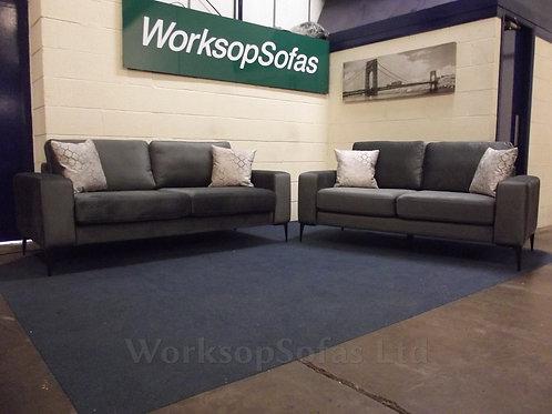 'Merlin' Grey Velvet 3 & 2 Seater Sofa Suite