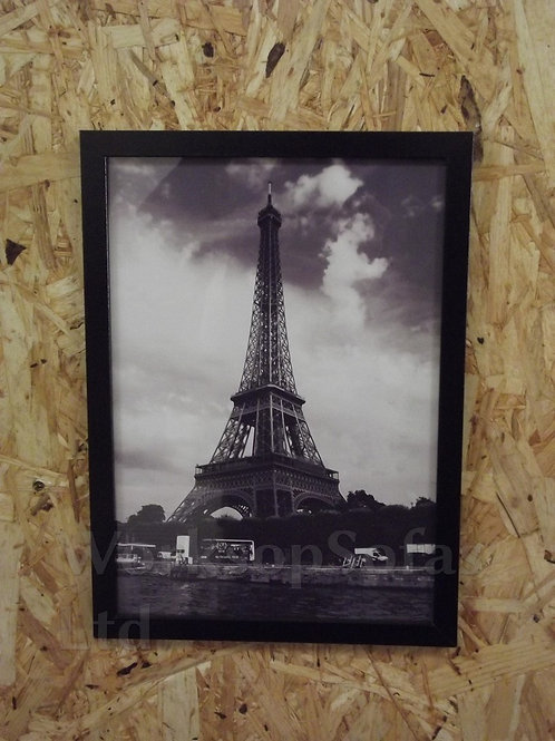 Set Of 3 Black And White Framed Paris Print Pictures