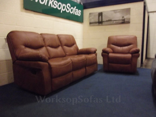 'Arizona' Tan Reclining 3 Seat Sofa And Armchair