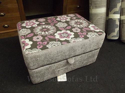 Purple Retro Flower Storage Footstool