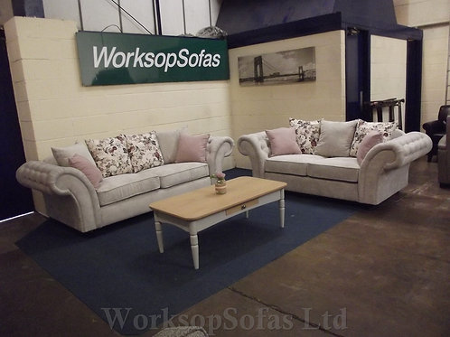 'Roma' 3 & 2 Seater Grey And Pink Sofa Suite