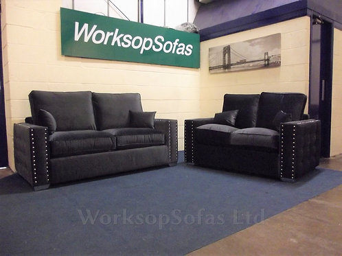 'Milan' Black Velvet 3 & 2 Seater Sofa Suite