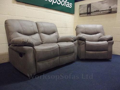 'Arizona' Grey Reclining 2 Seater Sofa And Armchair