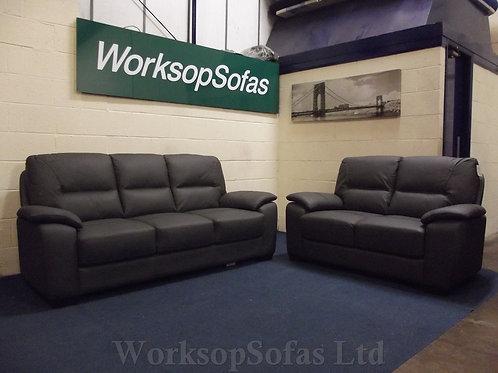 'Kansas' Grey Leather 3 & 2 Seater Sofa Suite