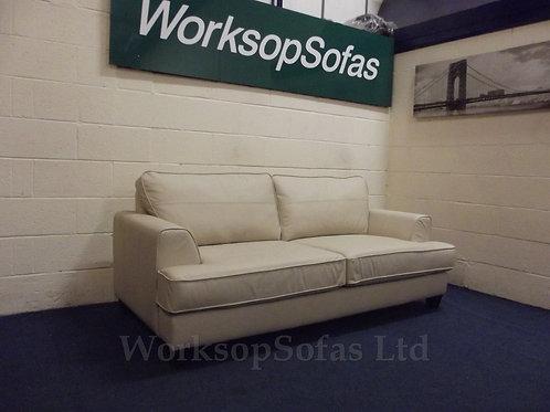 'Camden' 3 Seater Cream Leather Sofa