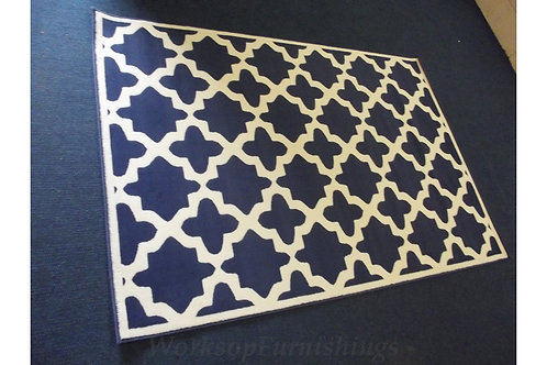 Blue And Cream Large Area Rug