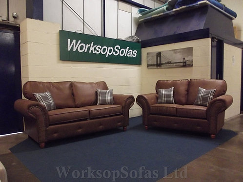 'Chesterton' Tan 3 & 2 Chesterfield Style Sofa Suite