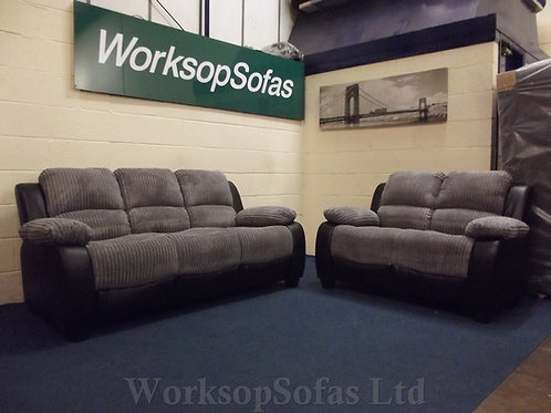 'Gracy' Charcoal Cord 3 & 2 Seater Sofa Suite
