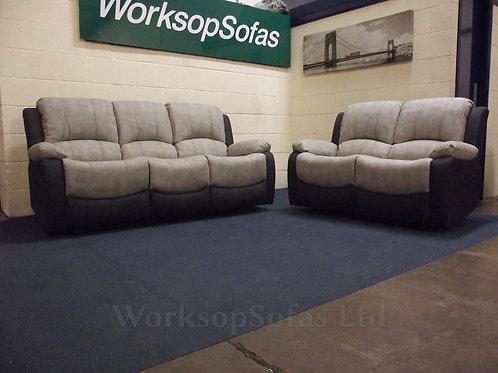 Alaska Two Tone Grey Reclining 3 & 2 Seater Sofa Suite