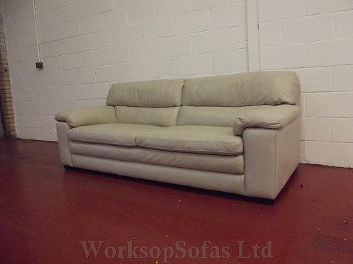 'Cozee' 3 Seater Pebble Grey Leather Sofa