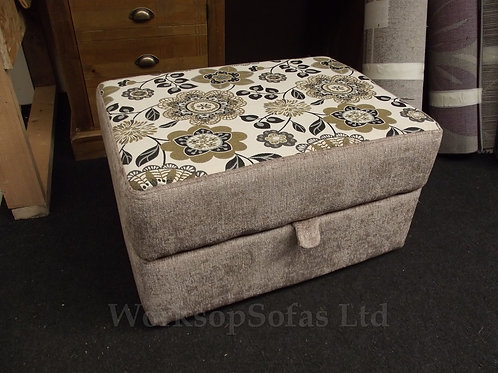 Beige Retro Flower Storage Footstool