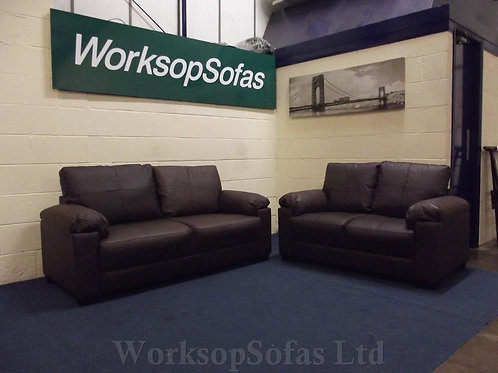 'Figaro' Brown Leather 3 & 2 Seater Sofa Suite